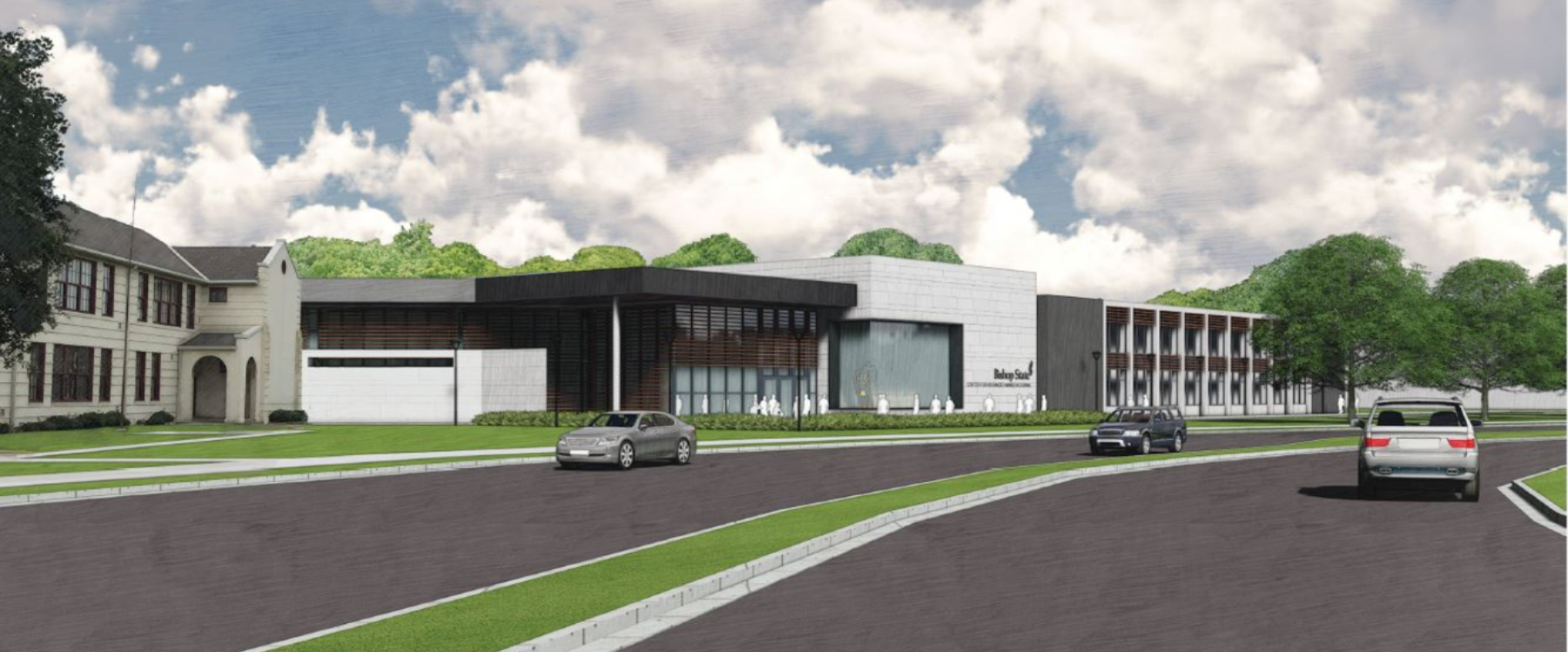 Rendering of new college facility, building with cares driving in street