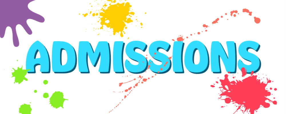 Paint splatter with text that reads, Admissions