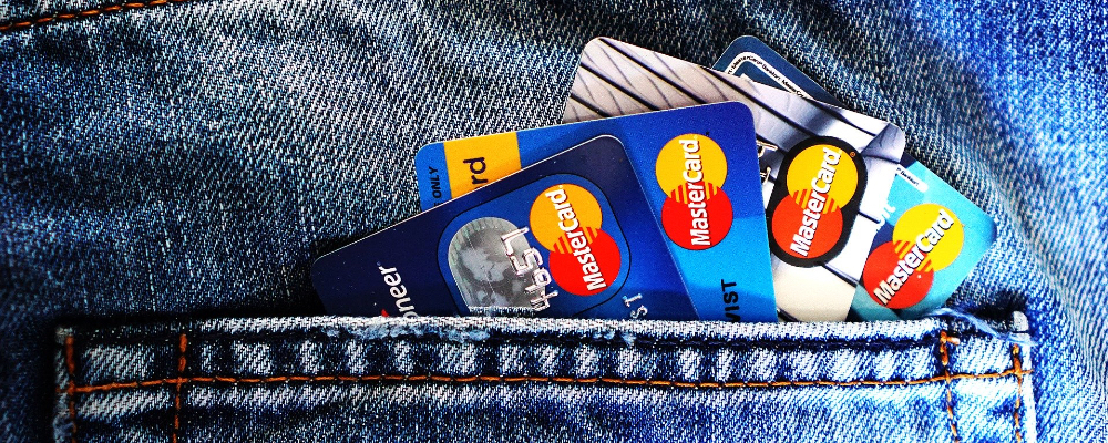 Credit cards in jeans pocket