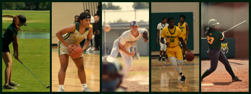 Sports Athletics Collage featuring golf, women's basketball, baseball, men's basketball, and softball