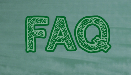 Green chalkboard with FAQ written