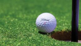 Golfball sitting on edge of hole