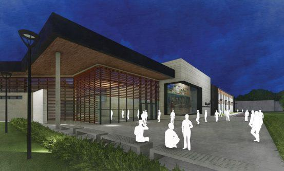 nighttime rendering of advanced manufacturing center