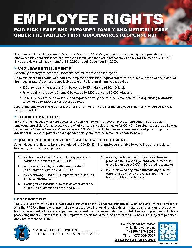FFCRA Poster WH1422 Non Federal 3 27 2020 Update