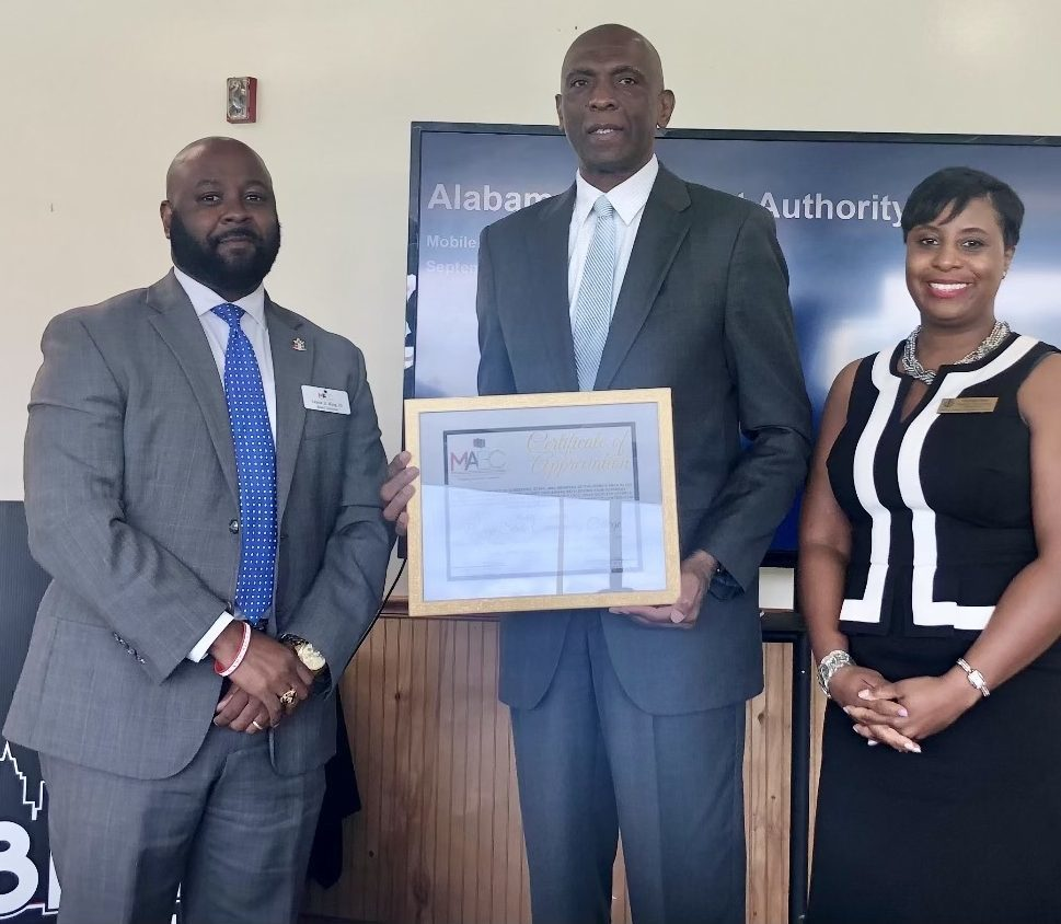 Bishop State Presented with certificate of appreciation