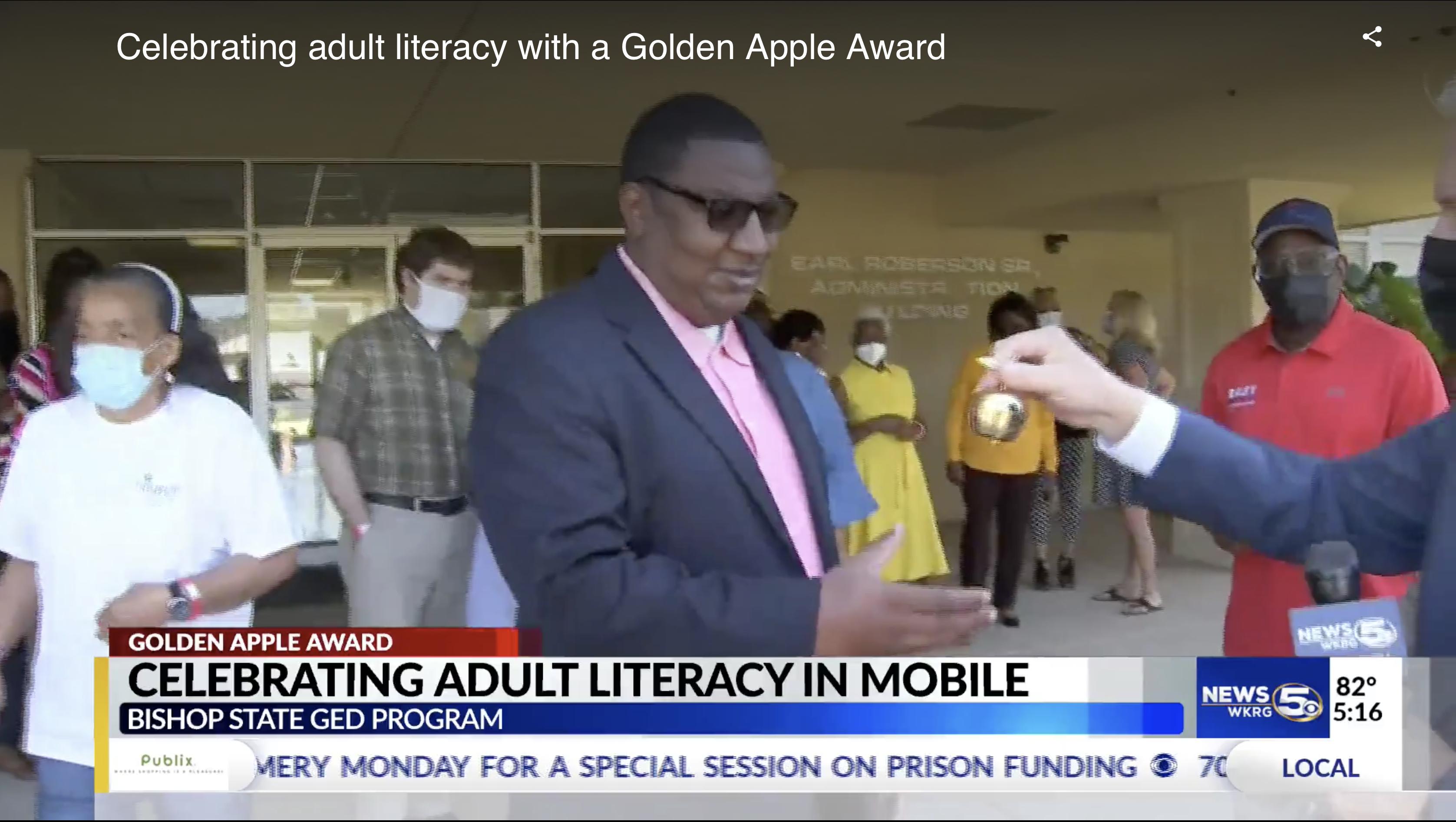 Adult Ed department accepts Golden Apple Award